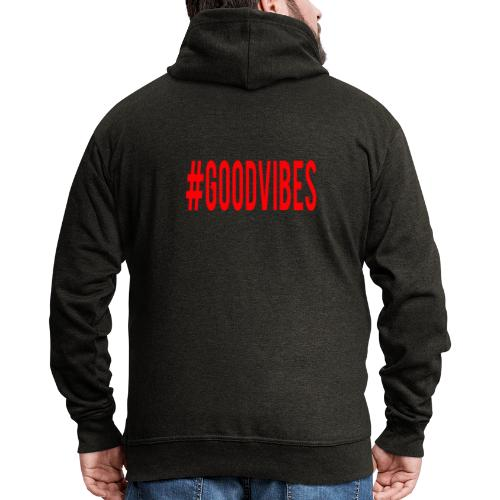 GOODVIBES_RED - Felpa con zip Premium da uomo