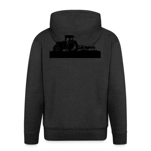 Tractor with cultivator - Men's Premium Hooded Jacket