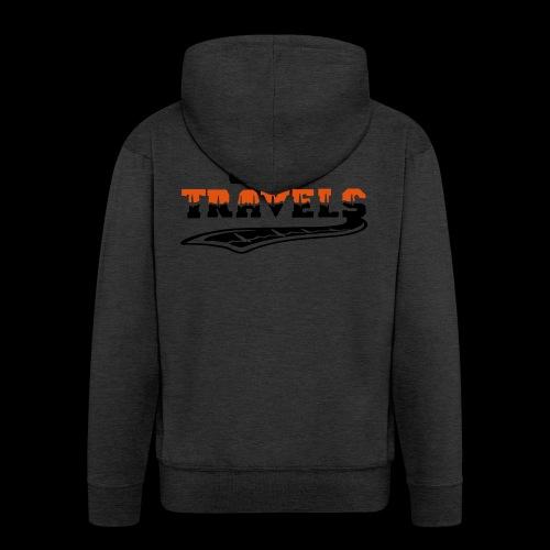 i love travels surprises 2 col - Men's Premium Hooded Jacket