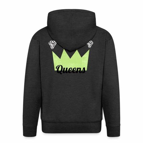 logo_queens_4_vihr_musta - Miesten premium vetoketjullinen huppari