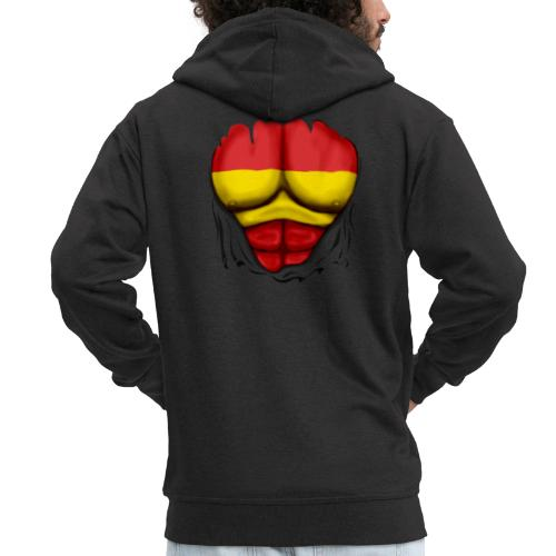 España Flag Ripped Muscles six pack chest t-shirt - Men's Premium Hooded Jacket