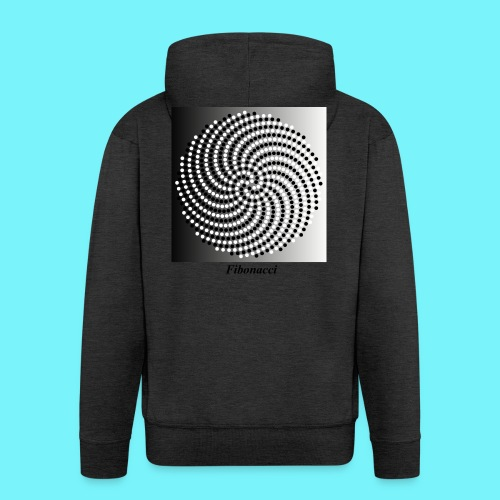 Fibonacci spiral pattern in black and white - Men's Premium Hooded Jacket
