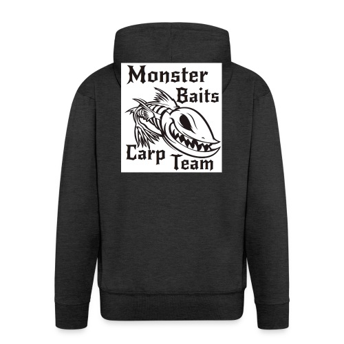 MONSTER_BAITS_WHITE - Rozpinana bluza męska z kapturem Premium