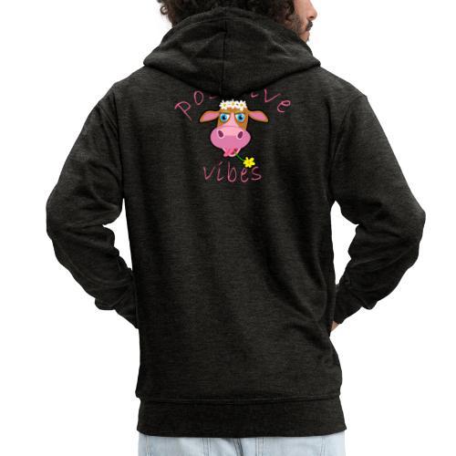 positive cow pink - Felpa con zip Premium da uomo