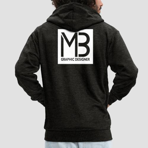 Logo MB Graphic Designer White - Felpa con zip Premium da uomo