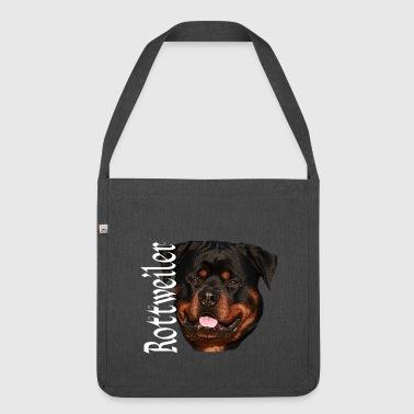 Rottweiler, koira, koiran pää, koira urheilua, - Olkalaukku kierrätysmateriaalista