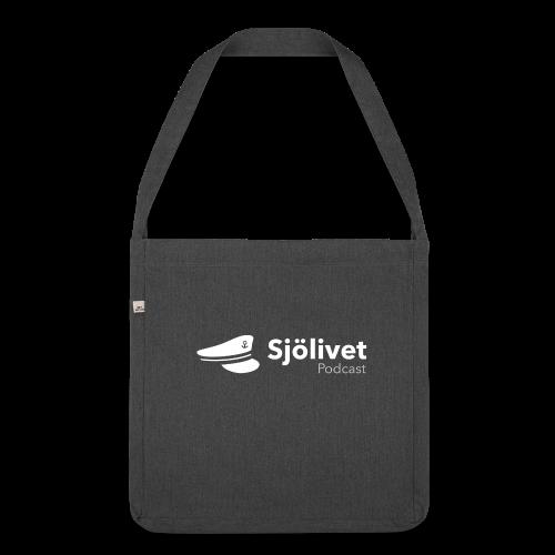 Sjölivet podcast - Vit logotyp - Axelväska av återvinningsmaterial