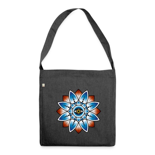 Psychedelisches Mandala mit Auge - Schultertasche aus Recycling-Material