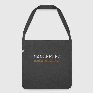 Manchester England minimalistische Koordinaten - Schultertasche aus Recycling-Material