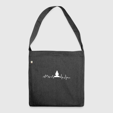 Heartbeat yoga t-shirt gift sport sports - Shoulder Bag made from recycled material
