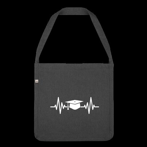 Doktorhut Herzschlag EKG Medizin Arzt Geschenk - Schultertasche aus Recycling-Material