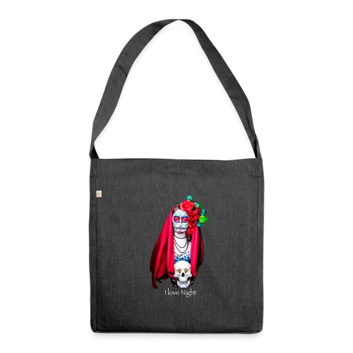 Catrina I love night - Bandolera de material reciclado