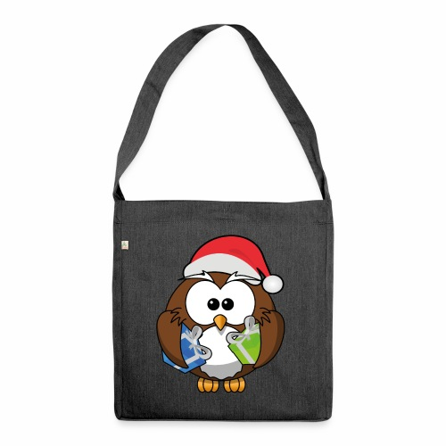 Weihnachtseule - Schultertasche aus Recycling-Material