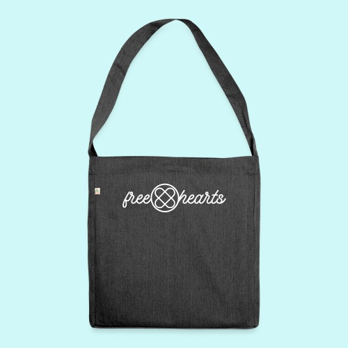 freehearts white logo - Schultertasche aus Recycling-Material