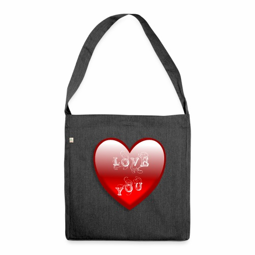 Love You - Schultertasche aus Recycling-Material