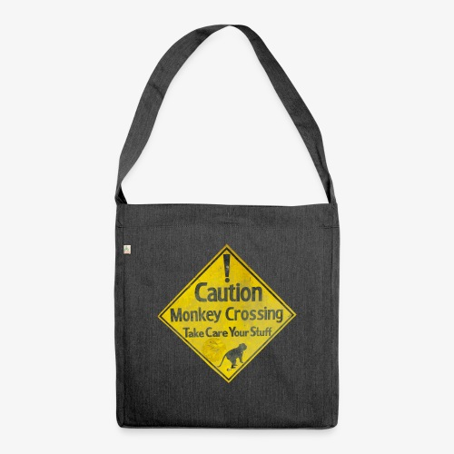 Caution Monkey Crossing - Schultertasche aus Recycling-Material