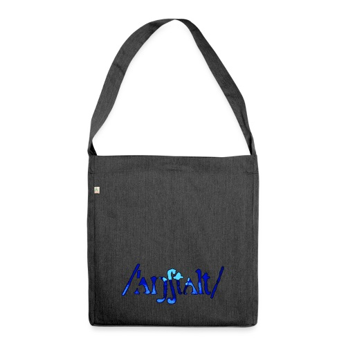 /'angstalt/ logo gerastert (blau/schwarz) - Schultertasche aus Recycling-Material
