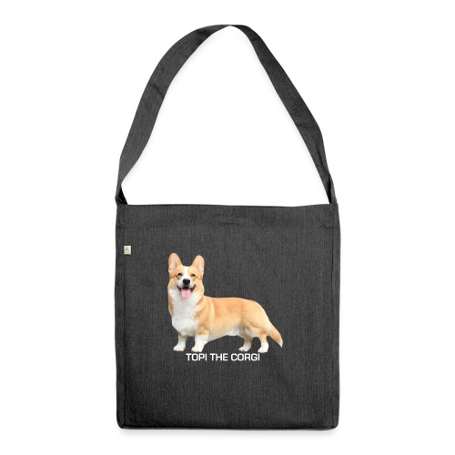 Topi the Corgi - White text - Shoulder Bag made from recycled material