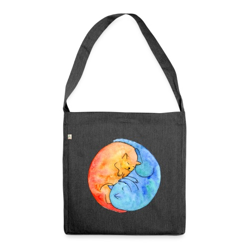 Katzenfreunde Yin Yang orange und blau - Schultertasche aus Recycling-Material