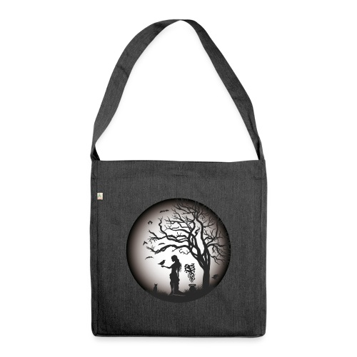Halloween Silhouette s w - Schultertasche aus Recycling-Material