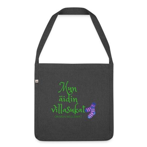 Mun äidin villasukat on mun neulomat - Shoulder Bag made from recycled material