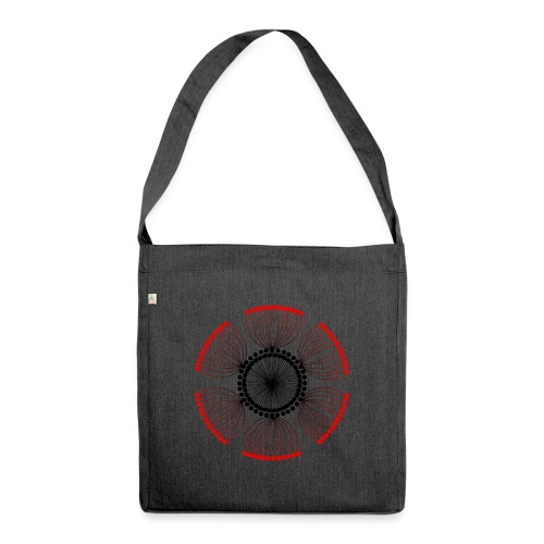 Red Poppy Seeds Mandala - Shoulder Bag made from recycled material