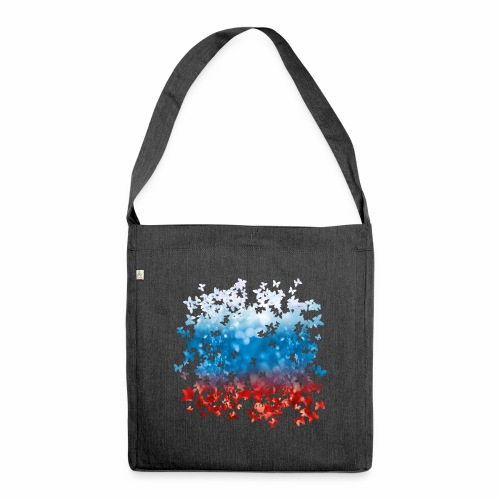06 Russland Flagge Fahne Russia Schmetterlinge - Schultertasche aus Recycling-Material