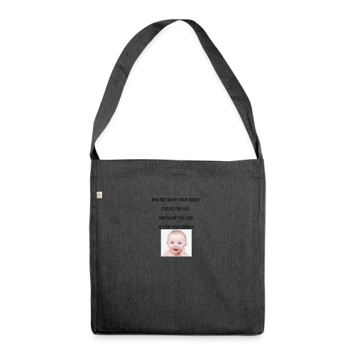 daddy tshirt sort tekst - Shoulder Bag made from recycled material