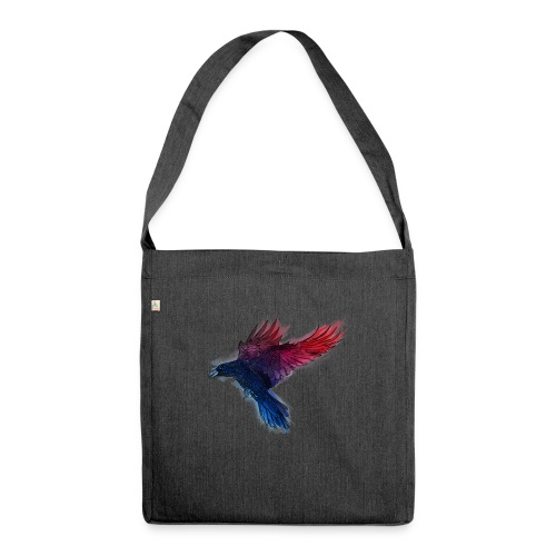 Watercolor Raven - Schultertasche aus Recycling-Material