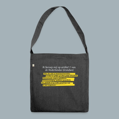 Nederlandse Grondwet T-Shirt - Artikel 1 - Schoudertas van gerecycled materiaal