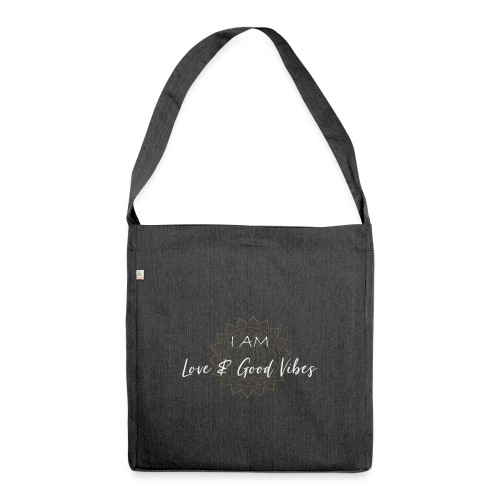 I am love and good vibes white gold - Schultertasche aus Recycling-Material