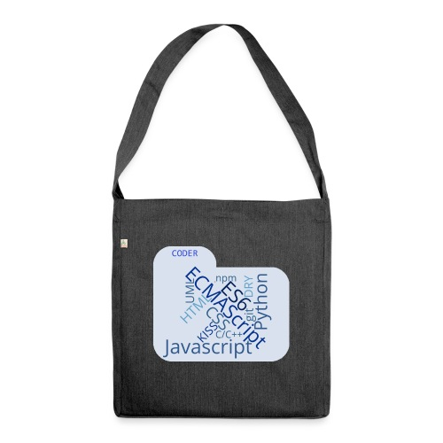 coder wordcloud - Shoulder Bag made from recycled material