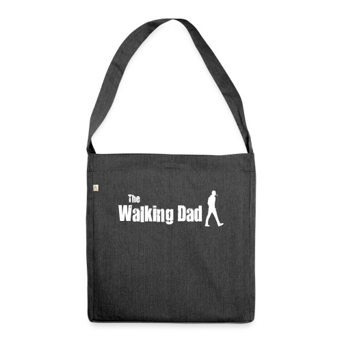 the walking dad white text on black - Shoulder Bag made from recycled material