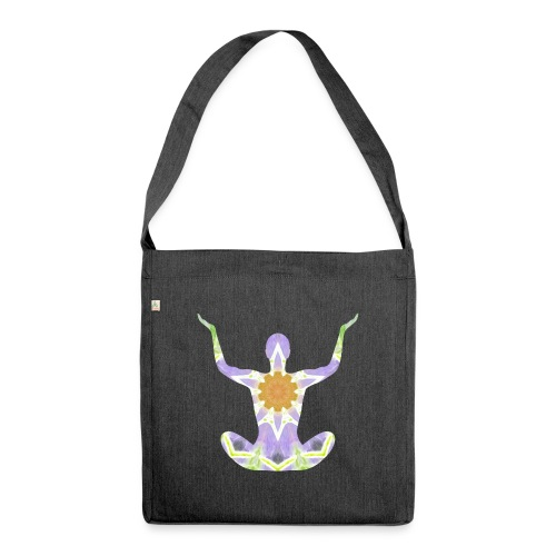 Meditation Silhouette - Schultertasche aus Recycling-Material