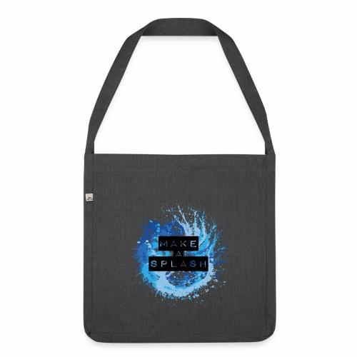 Make a Splash - Aquarell Design in Blau - Schultertasche aus Recycling-Material