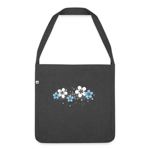 white and blue floral print - Torba na ramię z materiału recyklingowego