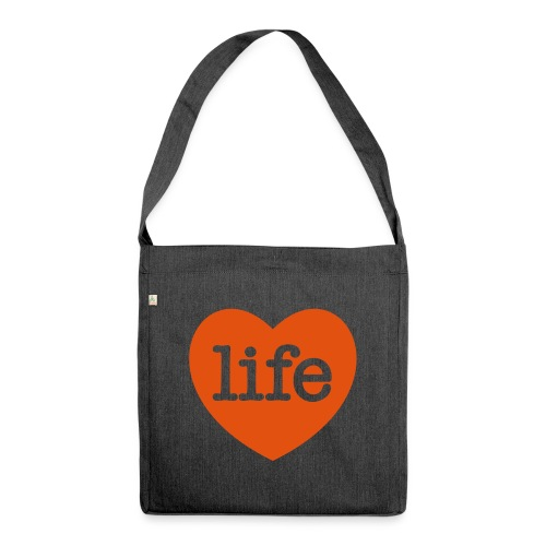 LOVE LIFE heart - Shoulder Bag made from recycled material