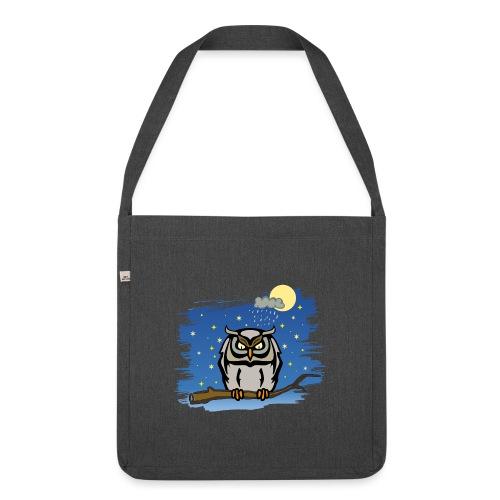 Eule Uhu Nachtschwärmer Vollmond Regenwolke Sterne - Schultertasche aus Recycling-Material
