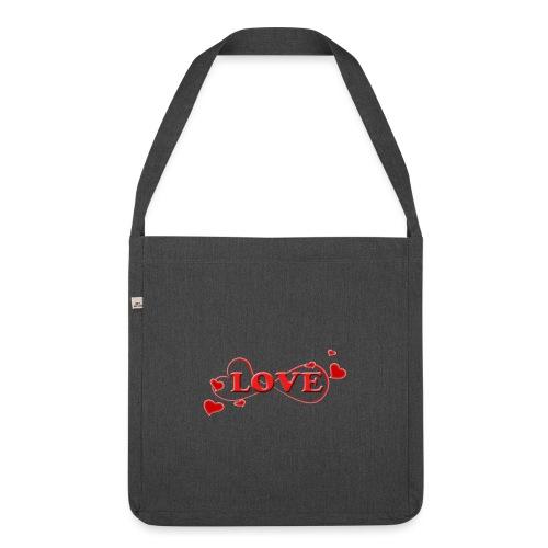 Love forever mit Herzchen, Valentinstag, Liebe - Schultertasche aus Recycling-Material