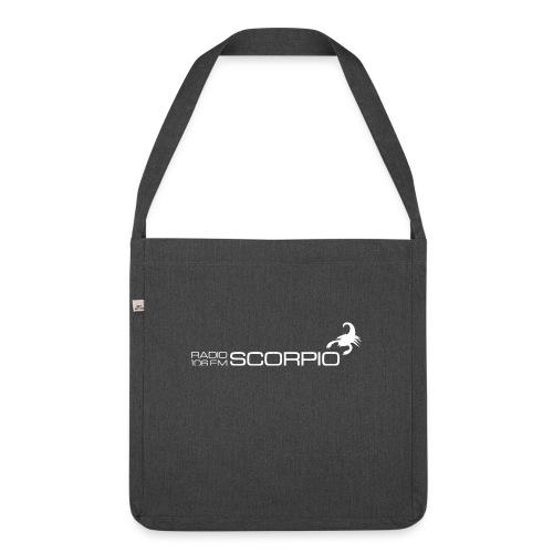 scorpio logo wit - Schoudertas van gerecycled materiaal