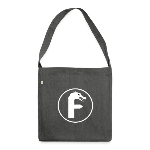 frontier dragon logo circle (white) - Shoulder Bag made from recycled material