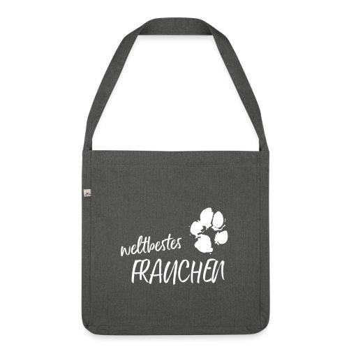 Vorschau: weltbestes Frauchen Pfote Hund - Schultertasche aus Recycling-Material
