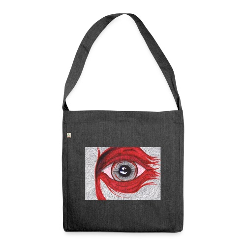 Auge - hypnotischer Blick - Schultertasche aus Recycling-Material