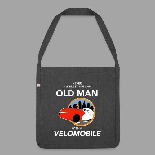 Never underestimate an old man with a velomobile - Olkalaukku kierrätysmateriaalista
