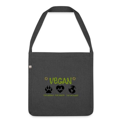 Vegan for animals, health and the environment. - Bandolera de material reciclado