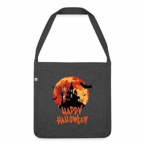 Bloodmoon Haunted House Halloween Design - Schultertasche aus Recycling-Material