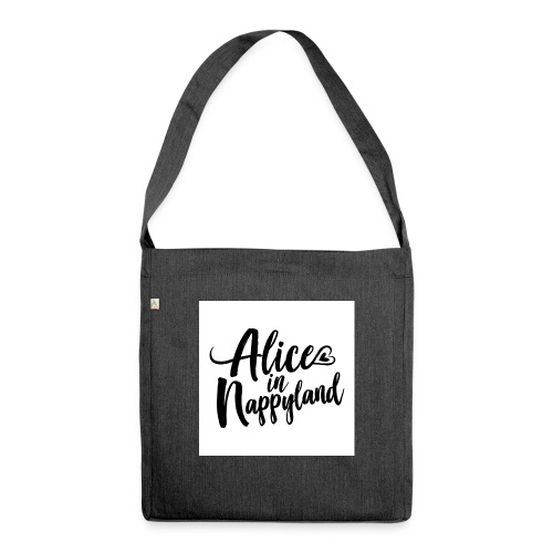 Alice in Nappyland Typography Black 1080 1 - Shoulder Bag made from recycled material