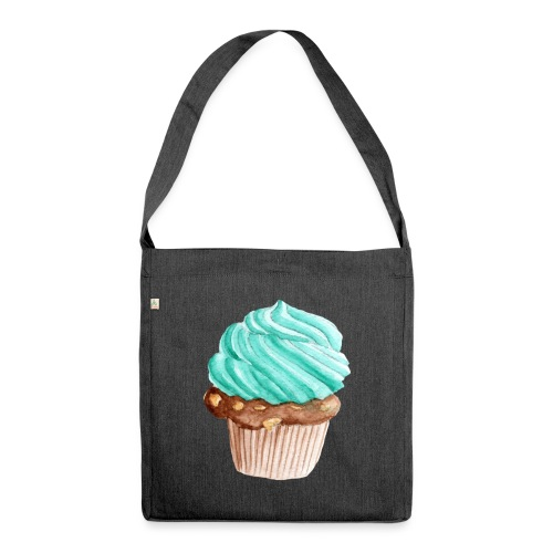 Cupcake Aquarell - Schultertasche aus Recycling-Material