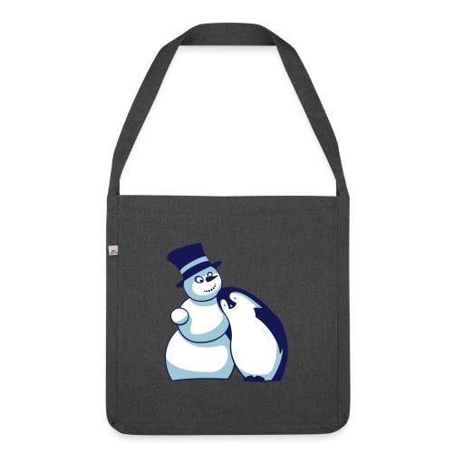 Schneemann und Pinguin - Schultertasche aus Recycling-Material