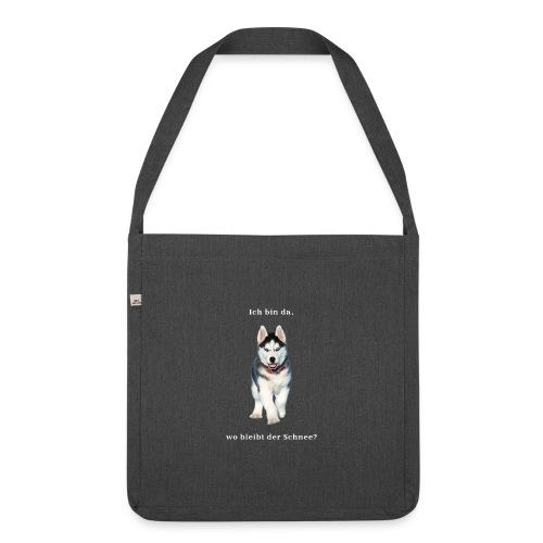 Husky Welpen mit bezaubernden Augen - Schultertasche aus Recycling-Material